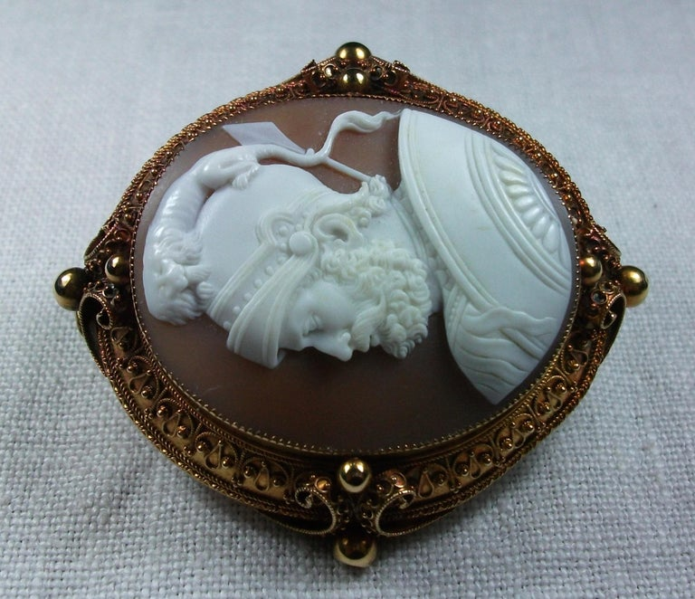 Antique Victorian God Mars Shell Cameo Pendant Brooch For Sale 1