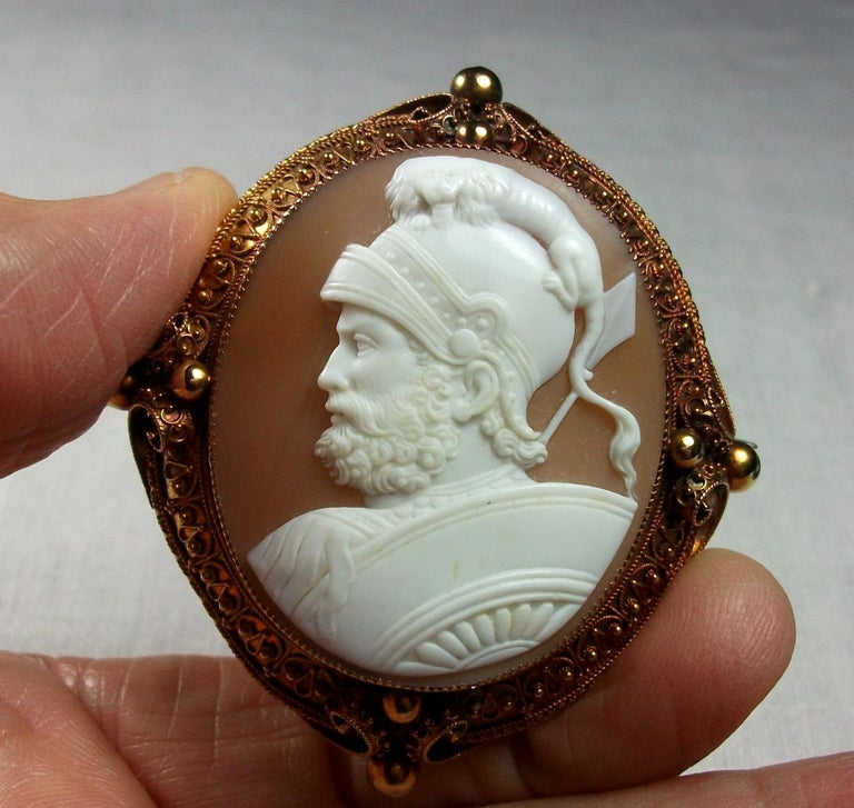 Antique Victorian God Mars Shell Cameo Pendant Brooch For Sale 3