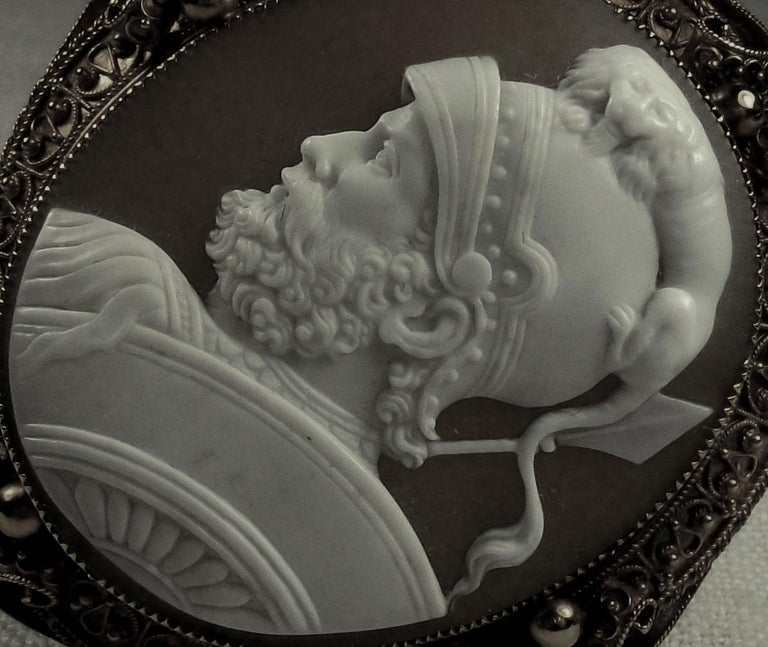 Antique Victorian God Mars Shell Cameo Pendant Brooch For Sale 4