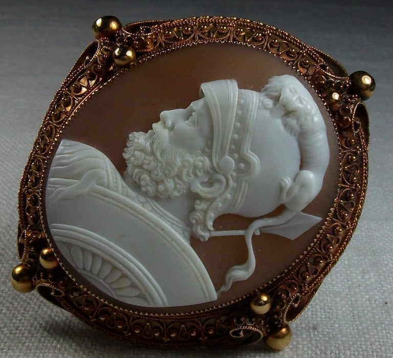Antique Victorian God Mars Shell Cameo Pendant Brooch For Sale 5