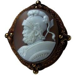 Antique Victorian God Mars Shell Cameo Pendant Brooch