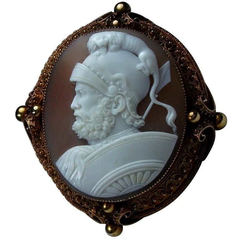 Antique Victorian God Mars Shell Cameo Pendant Brooch For Sale