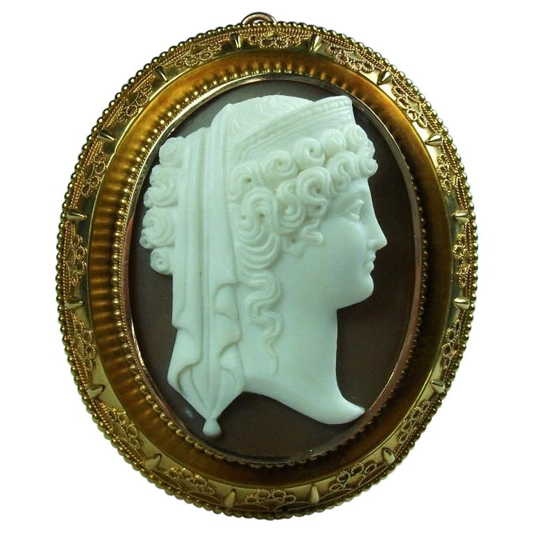 Antique Victorian Goddess Hera Shell Cameo Brooch