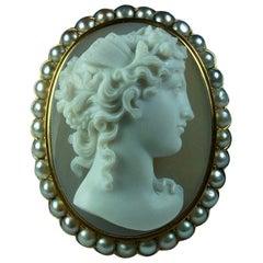 Antique Victorian Goddess Psyche Hard Stone Cameo Pendant Brooch