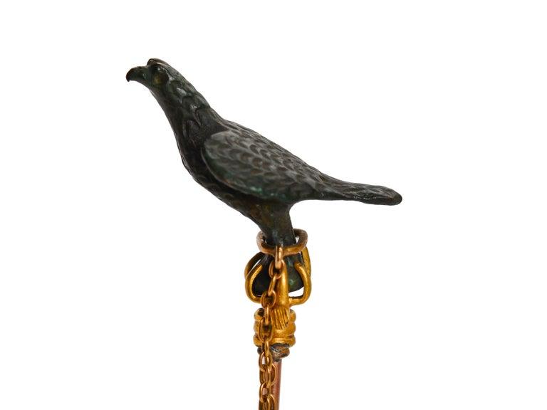 Late Victorian Antique Victorian Gold and Bronze Falcon Bird Stickpin For Sale
