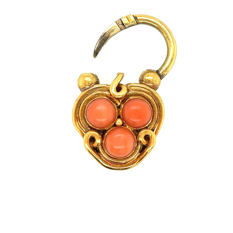 High Victorian Antique Victorian Gold and Coral Link Bracelet with Padlock Clasp For Sale