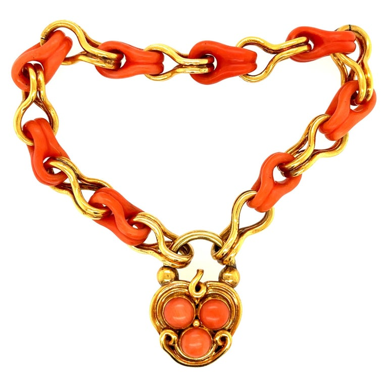 Antique Victorian Gold and Coral Link Bracelet with Padlock Clasp For Sale