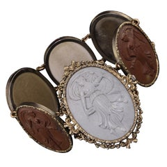 Antique Victorian Gold and Silver Lava Stone Cameo Bracelet