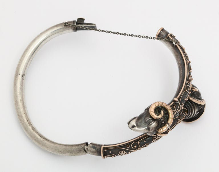 Women's Antique Victorian Gold and Silver Rams Head Bracelet For Sale