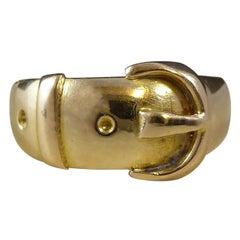 Antique Victorian Gold Buckle Ring, 18 Carat Gold, Hallmarked 1896 Birmingham