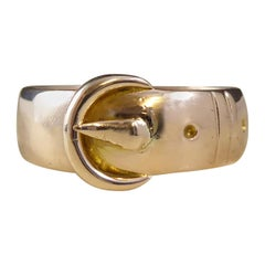 Antique Victorian Gold Buckle Ring, Chester, 1895