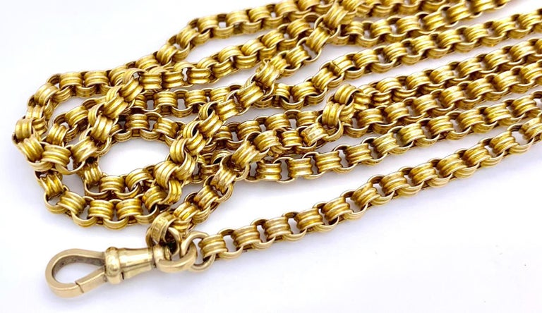 Victorian Gold Chain Longguard Muffchain Necklace In Excellent Condition For Sale In Munich, Bavaria