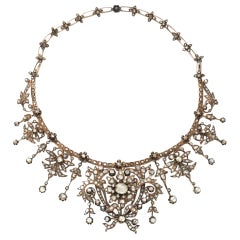 Antique Victorian Gold Diamond Approx 30.00 Carat Old Rose Cut Necklace