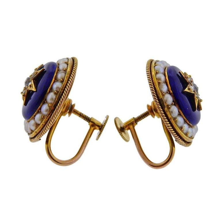 Pair of 14k gold Victorian earrings , measure 20mm long with wire, and 19mm in diameter. With blue enamel top , pearls and approx. 0.20ctw in diamonds.  Weigh 9.5 grams. Tested 14k.