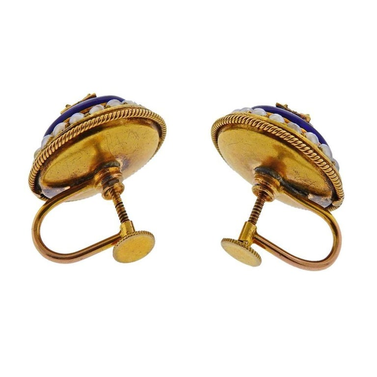 Antique Victorian Gold Diamond Enamel Earrings In Excellent Condition For Sale In New York, NY