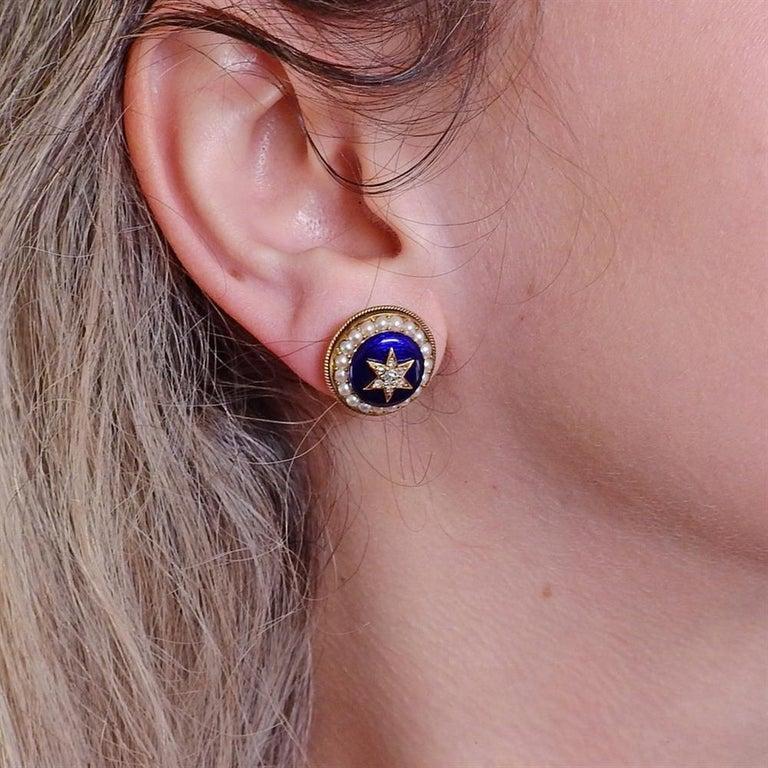 Women's Antique Victorian Gold Diamond Enamel Earrings For Sale