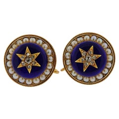 Antique Victorian Gold Diamond Enamel Earrings