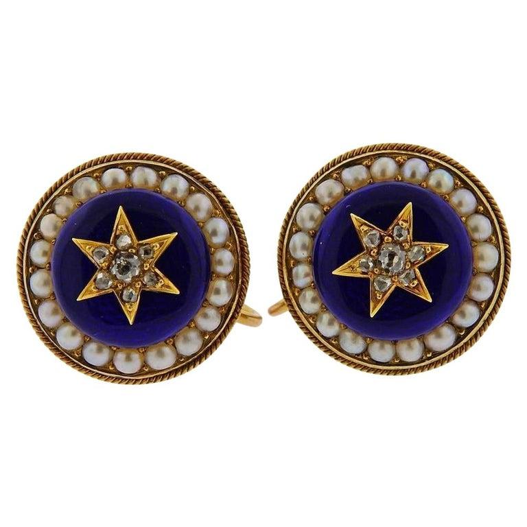 Antique Victorian Gold Diamond Enamel Earrings For Sale