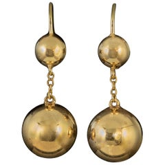 Antique Victorian Gold Earrings 9 Carat Gold Ball Droppers, circa 1880