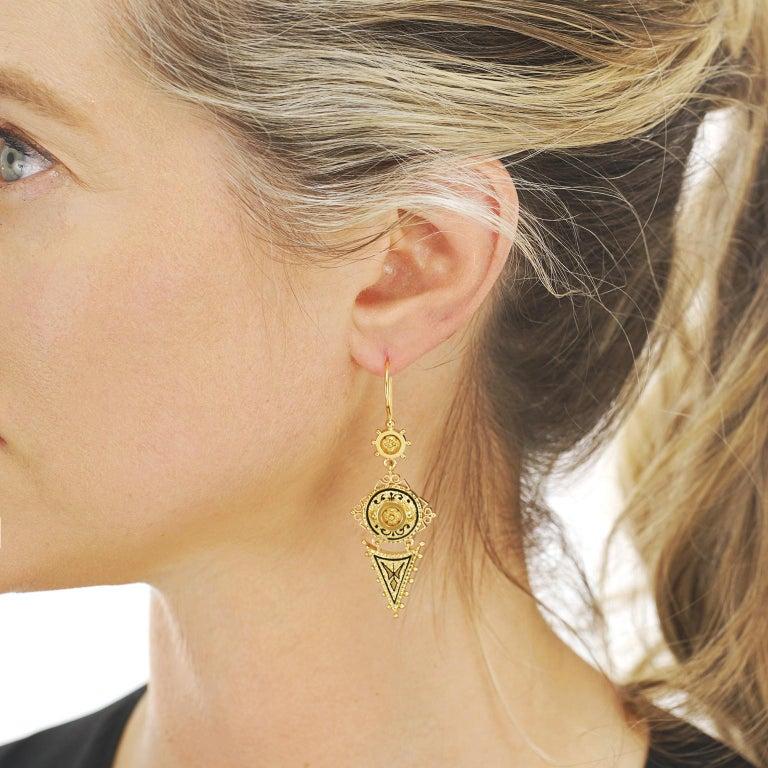 Women's or Men's Antique Victorian Gold Earrings