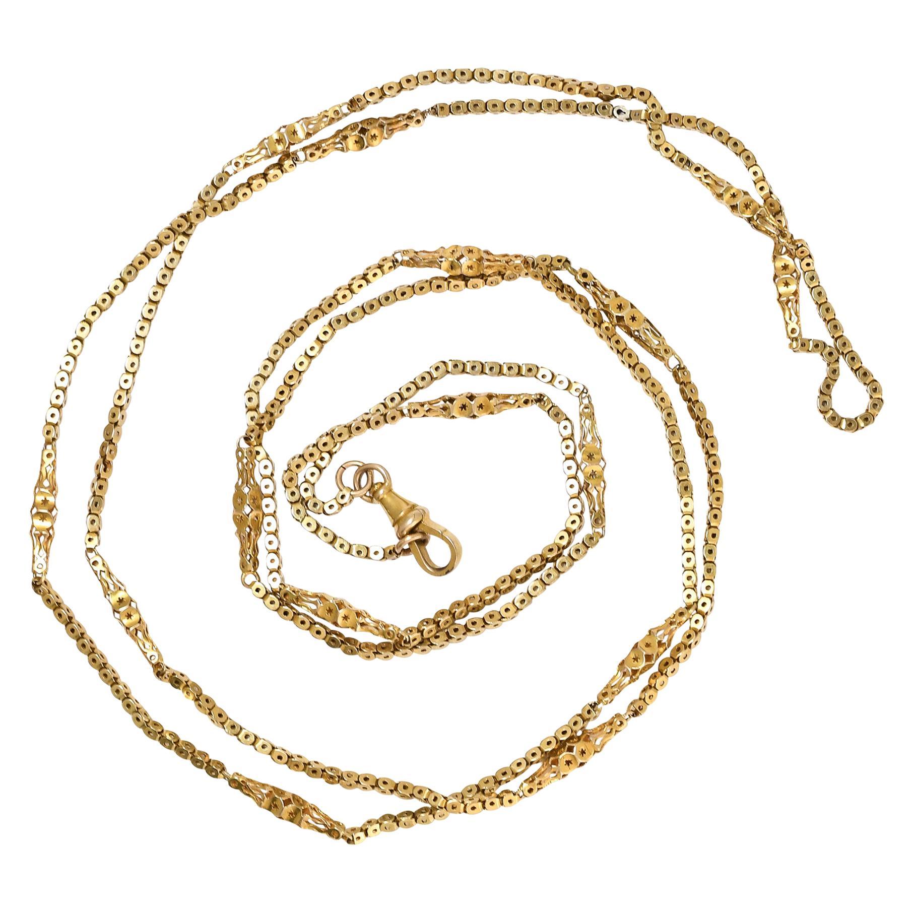 Antique Victorian Gold Fancy Link Guard Chain Necklace