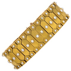 Antique Victorian Gold Geometric Plaque Link Bracelet with Half Pearl Accents