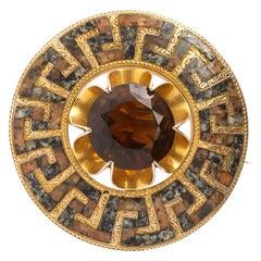 Antique Victorian Gold Greek Key Scottish Brooch