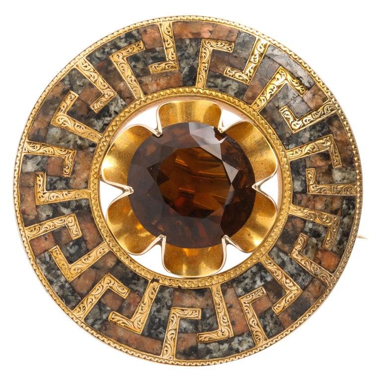 Antique Victorian Gold Greek Key Scottish Brooch For Sale
