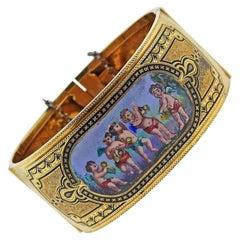 Antique Victorian Gold Hand Painted Porcelain Bracelet