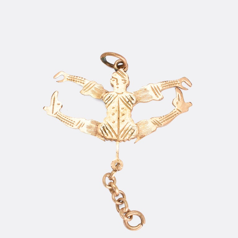 Antique Victorian Gold Jester Novelty Pendant In Good Condition For Sale In Sale, Cheshire