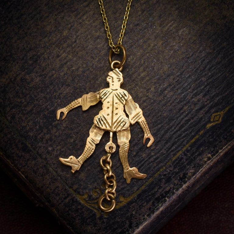 Women's Antique Victorian Gold Jester Novelty Pendant For Sale