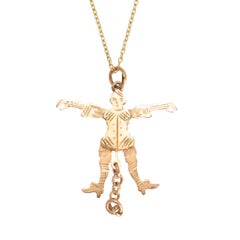 Antique Victorian Gold Jester Novelty Pendant