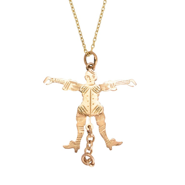 Antique Victorian Gold Jester Novelty Pendant For Sale