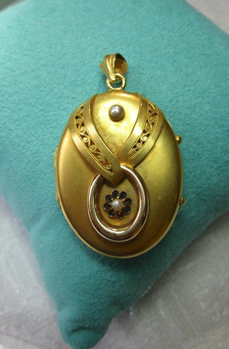 Round Cut Antique Victorian Gold Locket 16 Karat Etruscan Pearl, circa 1860 For Sale