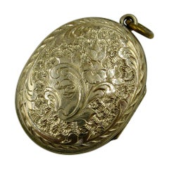 Antique Victorian Gold Locket Lattice Flower Motif
