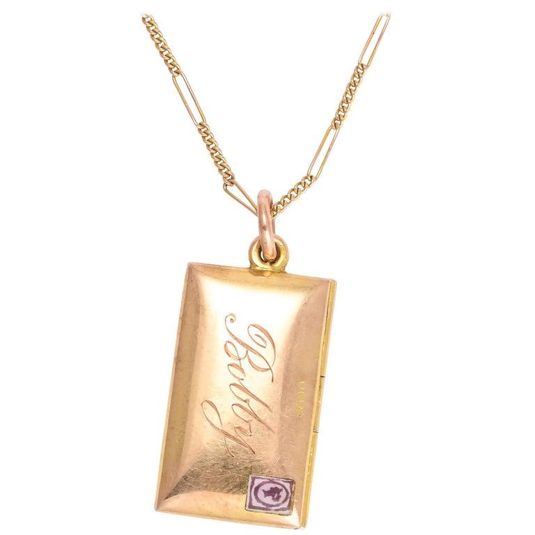 Antique Victorian Gold Love Letter and Envelope Love Token Locket For Sale