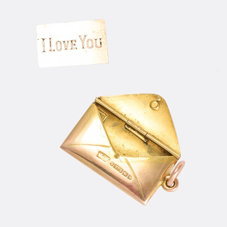 Late Victorian Antique Victorian Gold Love Letter and Envelope Love Token Locket For Sale