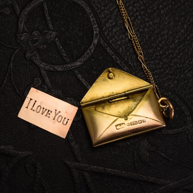 Antique Victorian Gold Love Letter and Envelope Love Token Locket For Sale 1