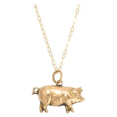 Antique Victorian Gold Lucky Pig Charm