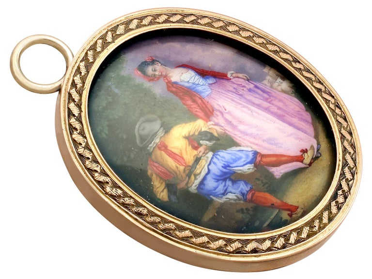 Women's or Men's Antique Victorian Yellow Gold Miniature Portrait Pendant For Sale
