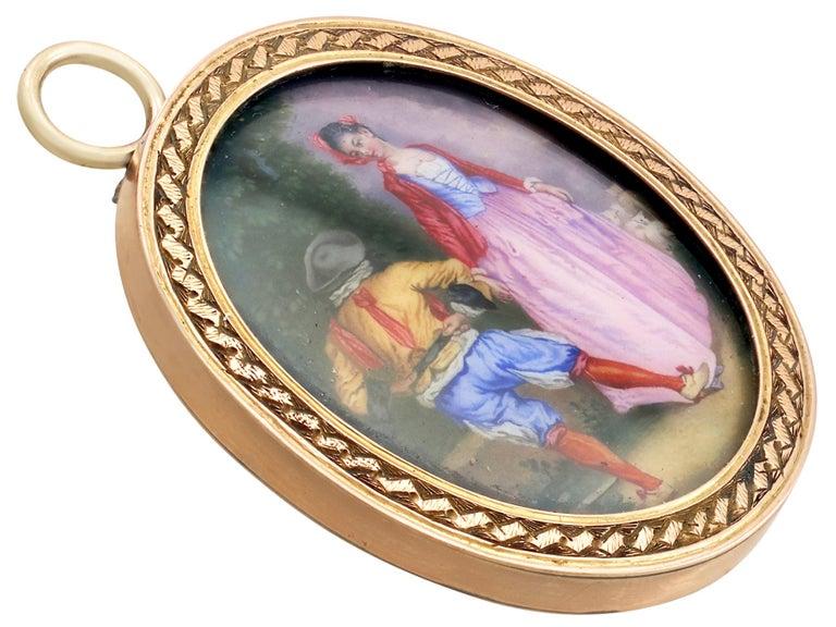 Antique Victorian Yellow Gold Miniature Portrait Pendant For Sale 1