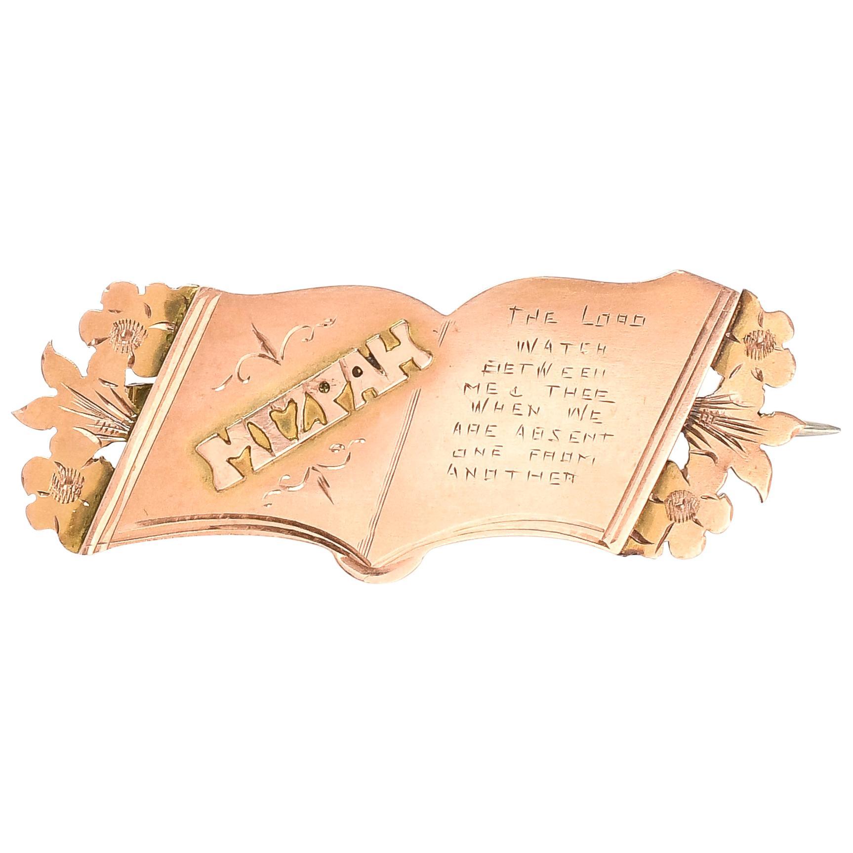 Antique Victorian Gold MIZPAH Bible Brooch