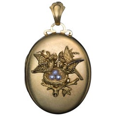 Antique Victorian Gold Pearl Locket Pendant