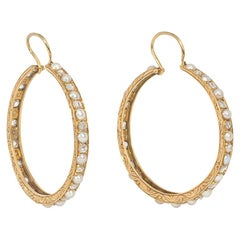 Antique Victorian Gold, Rose Diamond, and Pearl Hoop Earrings
