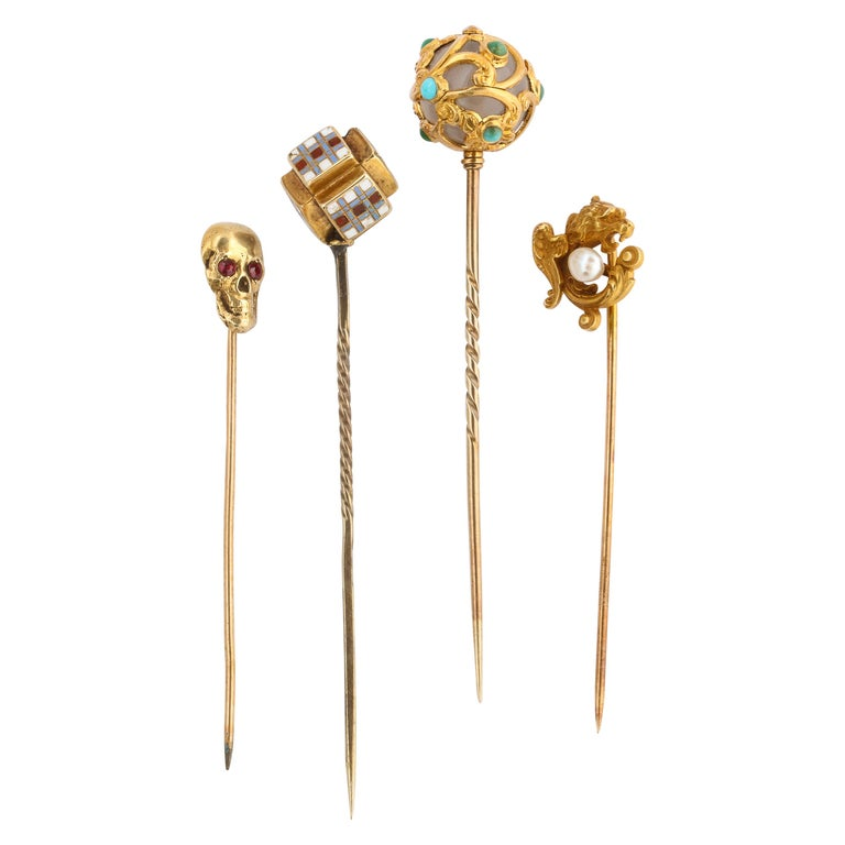 Antique Victorian Gold Stickpin Collection For Sale