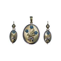 Antique Victorian Gold Turquoise Pearl Pendant Locket And Earrings