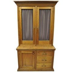 Antique Victorian Golden Oak Bookcase Hutch Buffet China Cabinet Tall Cupboard