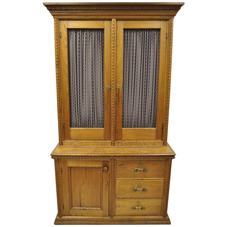 Vaisselier Etroit: Antique Victorian Golden Oak Bookcase Hutch Buffet China