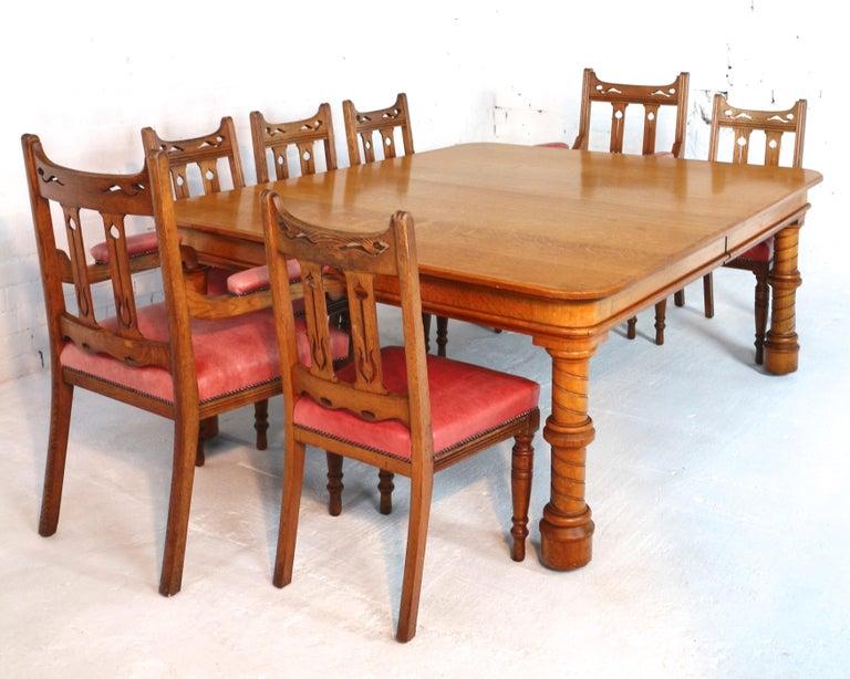 Antique Victorian Golden Oak Extending Dining Table And Leaf