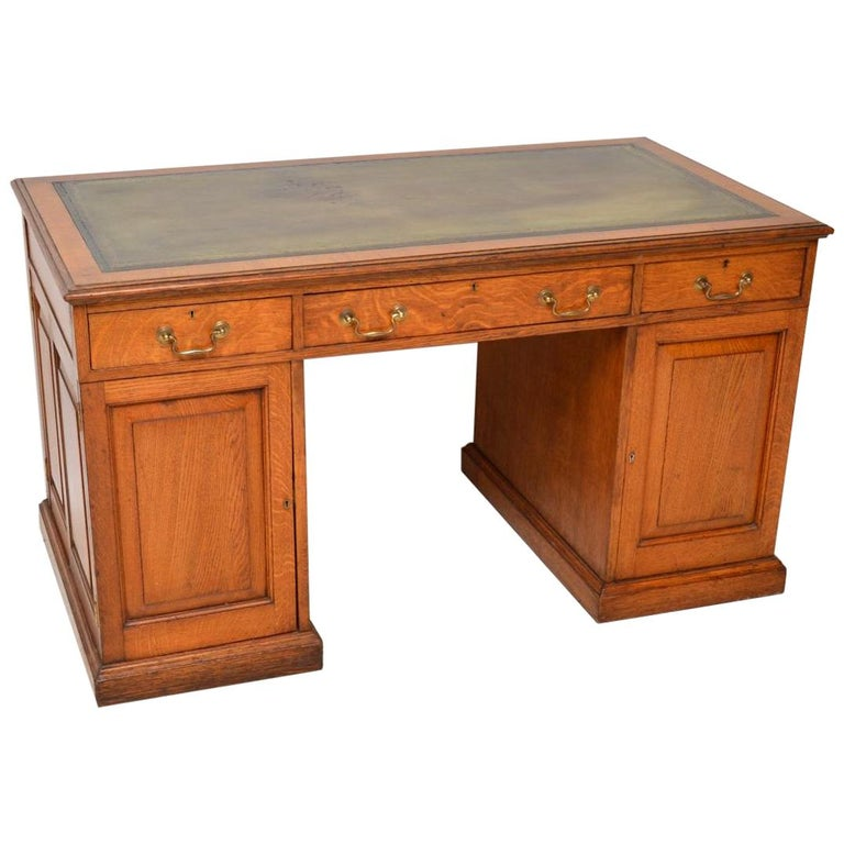 Antique Victorian Golden Oak Pedestal Desk For
